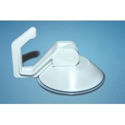 Przyssawka Ø 50 mm z plastikowym haczykiem typu dźwignia ssąca, biała