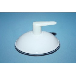 Przyssawka Ø 50 mm z plastikowym haczykiem gwintowym i czapą, biała