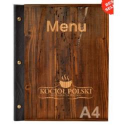 Karta na menu stare drewno łączona śrubami
