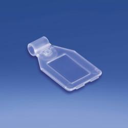 Etykieta na hak podwójny plastikowy lub metalowy z kieszonką, drut Ø 4,8 mm.