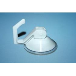 Przyssawka Ø 40 mm z plastikowym haczykiem typu dźwignia ssąca, biała