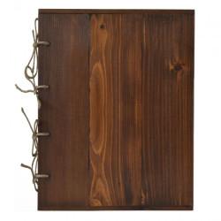 Karta na menu stare drewno łączona sznurem