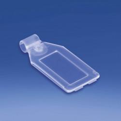 Etykieta na hak podwójny plastikowy lub metalowy z kieszonką 26x42 mm