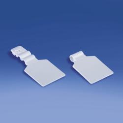 Etykieta na hak podwójny plastikowy lub metalowy pod naklejkę, drut Ø 4 mm
