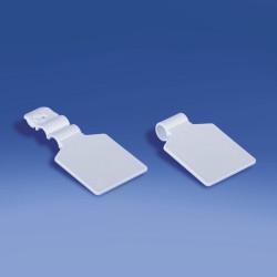 Etykieta na hak podwójny plastikowy lub metalowy pod naklejkę, drut Ø 5,6 - 5,7 mm