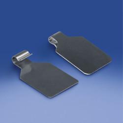 Wahadłowa etykieta metalowa na hak podwójny rozmiar etykiety mm. 28 x 29 mm, hak Ø 3,8 mm